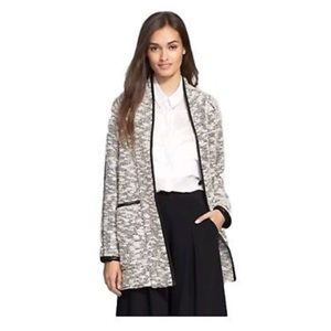 Rebecca Taylor Faux Leather-Trim Tweed Jacket